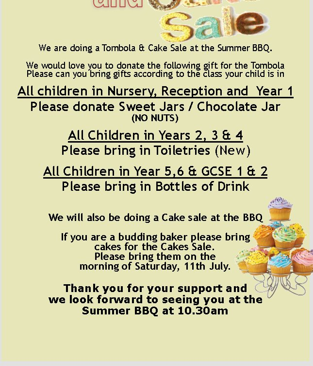 Tombola and cakes for Summer BBQ