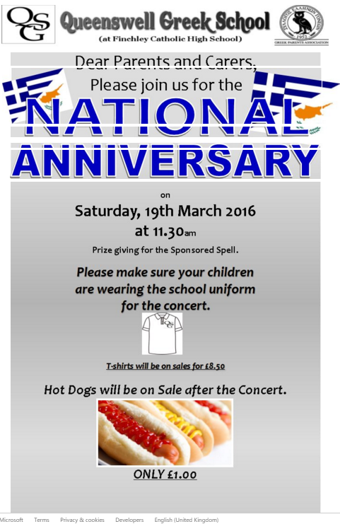 National Anniversary Celebrations Saturday 19th March 2016